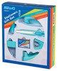 Настольный набор KW-TRIO 6341 Twist, Степлер 24/6, дырокол 20 листов, скобы 24/6, нож канцелярский, скрепочница, антистеплер, диспенсер для клейкой ленты, металл, 7 предметов, ассорти вид 3