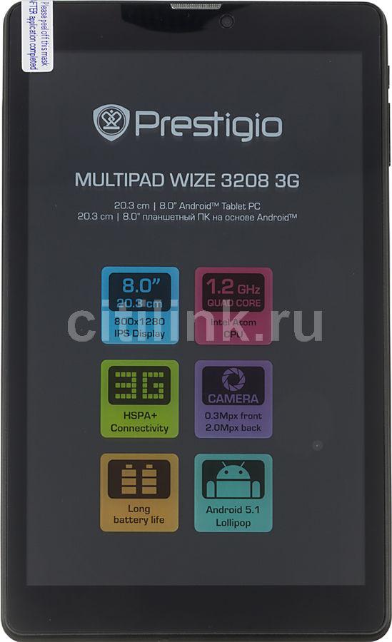 Планшет PRESTIGIO MultiPad Wize 3208 3G,  1GB, 8GB, 3G,  Android 5.1 черный [pmt3208_3g]