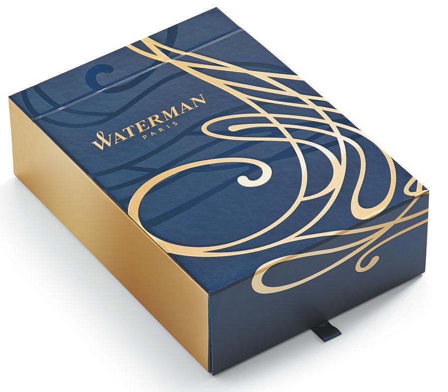 Набор Waterman Carene De Luxe (1978717) Black Gold GT ручка шариковая M синие чернила в компл.:блокн