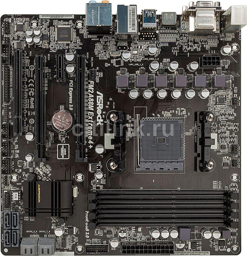 Материнская плата Asrock FM2A88M Extreme4+ R2.0 Soc-FM2+ AMD A88X 4xDDR3 mATX AC`9 (отремонтированный)
