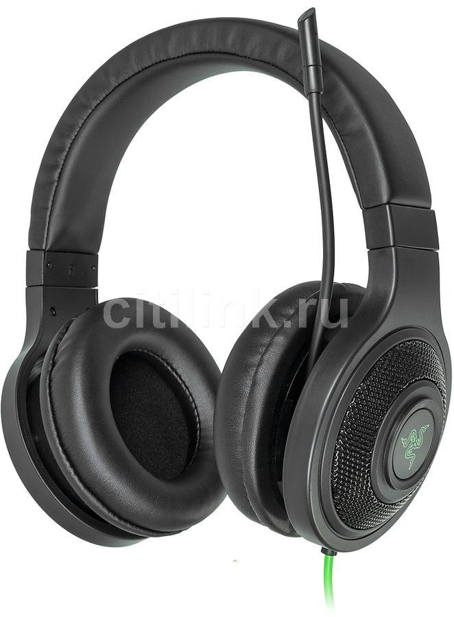Гарнитура игровая RAZER Kraken Essential,  для компьютера, мониторы,  черный  / зеленый [rz04-01720100-r3r1]