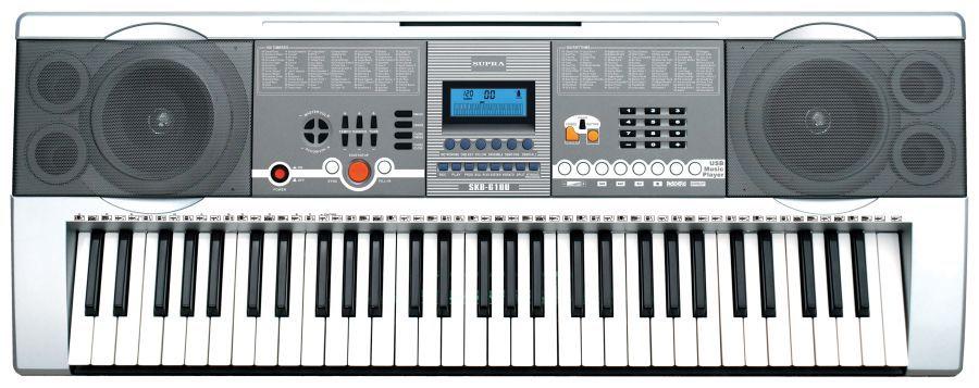 Синтезатор SUPRA SKB-610U, 61, невзвешенная, полноразмерные, 16, серебристый