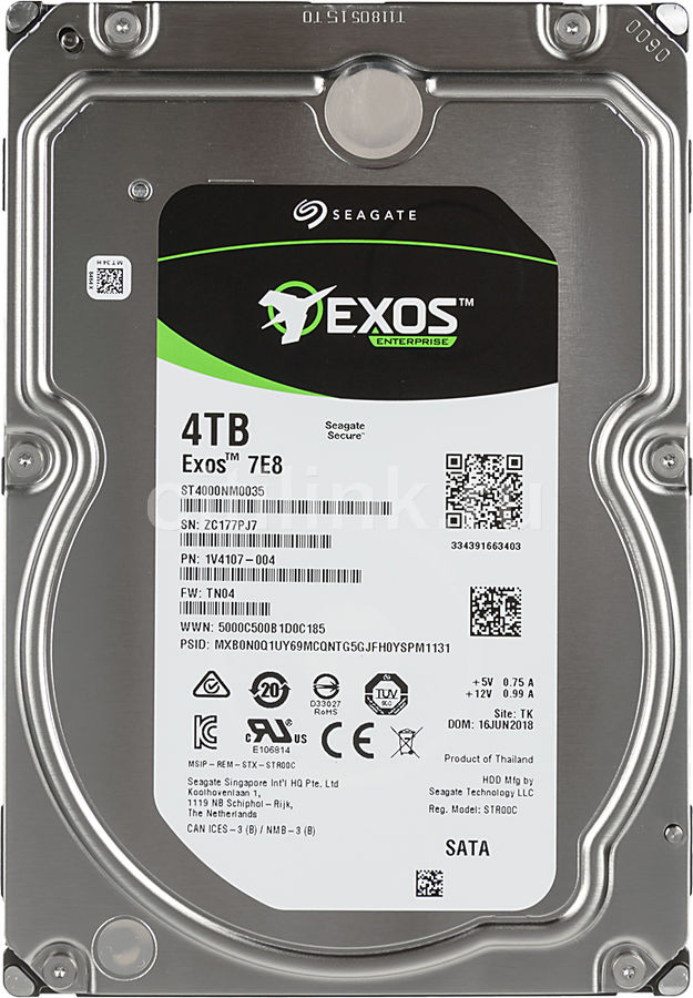 Жесткий диск SEAGATE Enterprise Capacity ST4000NM0035, 4Тб, HDD, SATA III, 3.5 жесткий диск hgst ultrastar 7k6000 hus726040ale614 4тб hdd sata iii 3 5 [0f23025]