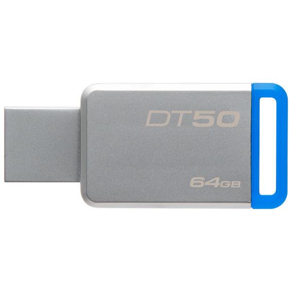 Флешка USB KINGSTON DataTraveler 50 64Гб, USB3.1, серебристый и синий [dt50/64gb]