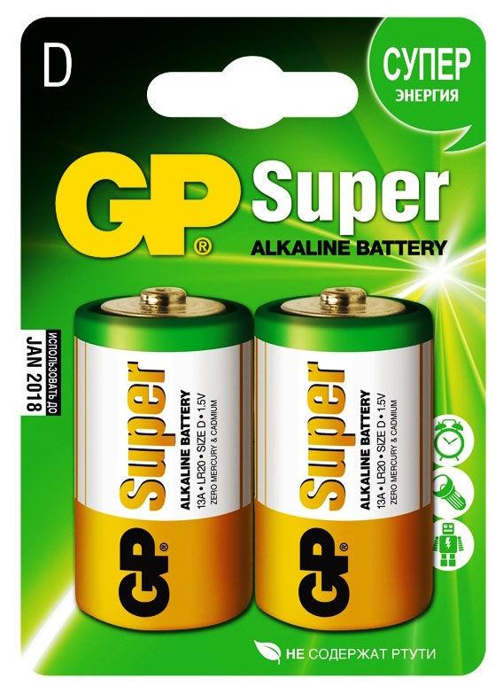 D Батарейка GP Super Alkaline 13A LR20,  2 шт.