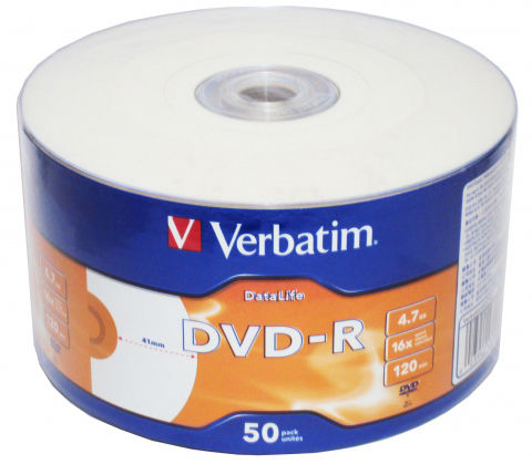 Оптический диск DVD-R VERBATIM 4.7Гб 16x, 50шт., bulk, printable [43793]