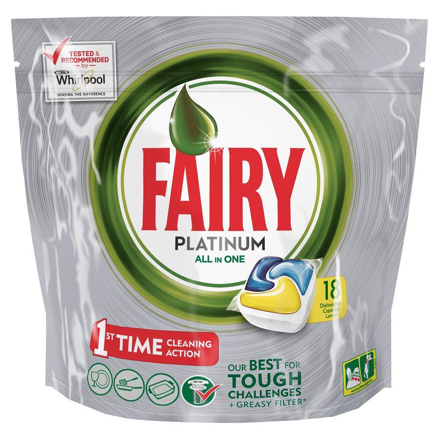 Средство для мытья посуды FAIRY Platinum,  для посудомоечных машин,  Лимон,  18 [fr-81574620]