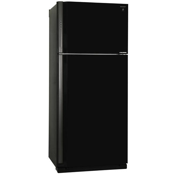 Холодильник SHARP SJ-XP59PGBK,  двухкамерный, черное стекло/стекло