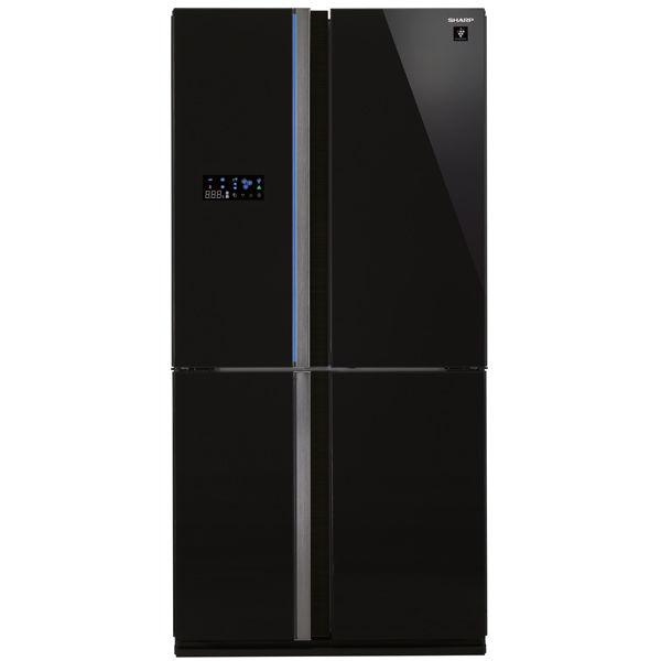 Холодильник SHARP SJ-FS97VBK,  трехкамерный, черное стекло