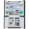 Холодильник SHARP SJ-FS97VBK,  трехкамерный, черное стекло вид 2