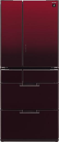 Холодильник SHARP SJ-GF60AR,  четырехкамерный, черный рубин/стекло