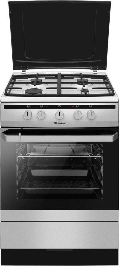 Газовая плита HANSA FCMX63022,  электрическая духовка,  нержавеющая сталь