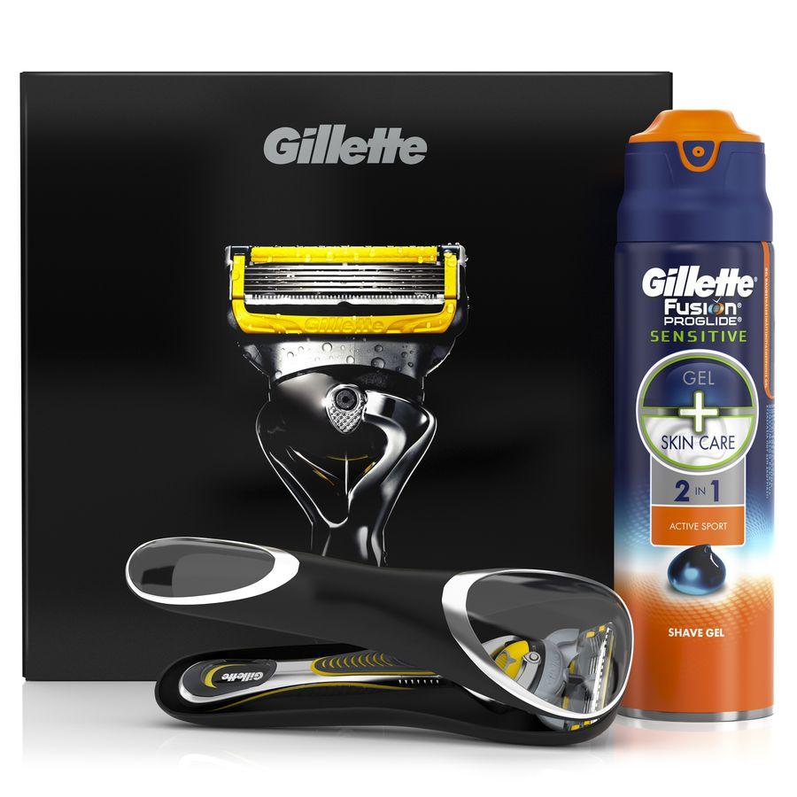 Набор подарочный GILLETTE Fusion ProShield, (Бритва Fusion ProShield+Гель для бритья Fusion ProGlide Sensitive Active Sport, 170 мл+ Чехол для бритвы) [gil-81562028]