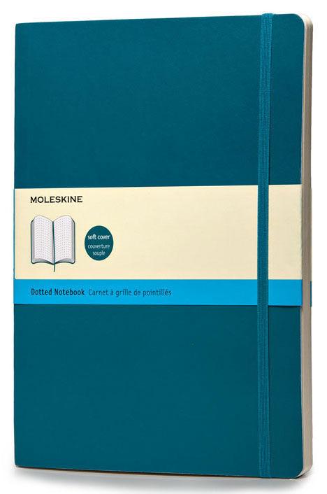 Блокнот Moleskine CLASSIC SOFT XLarge 190х250мм 192стр. пунктир мягкая обложка бирюзовый [qp624b6]