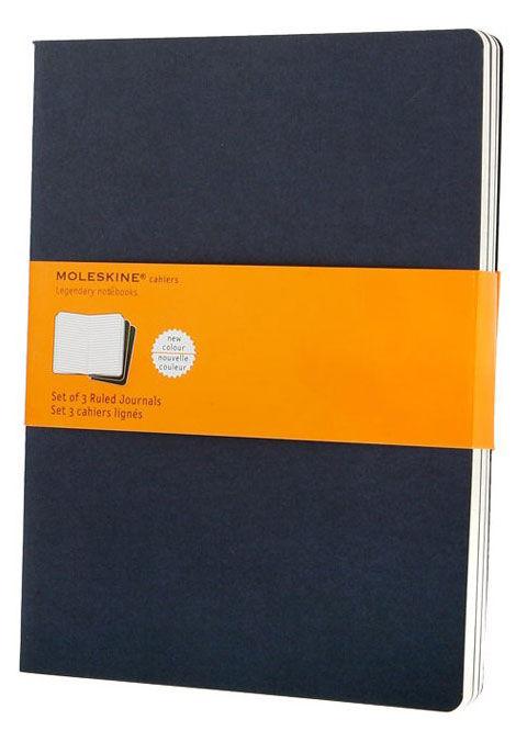 Блокнот Moleskine CAHIER JOURNAL XLarge 190х250мм обложка картон 120стр. линейка синий индиго (3шт)