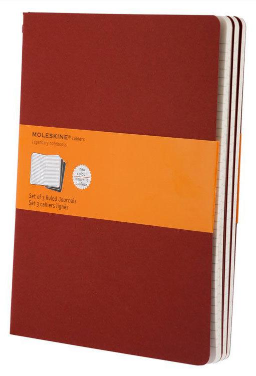 Блокнот Moleskine CAHIER JOURNAL XLarge 190х250мм обложка картон 120стр. линейка клюквенный (3шт) [ch121]