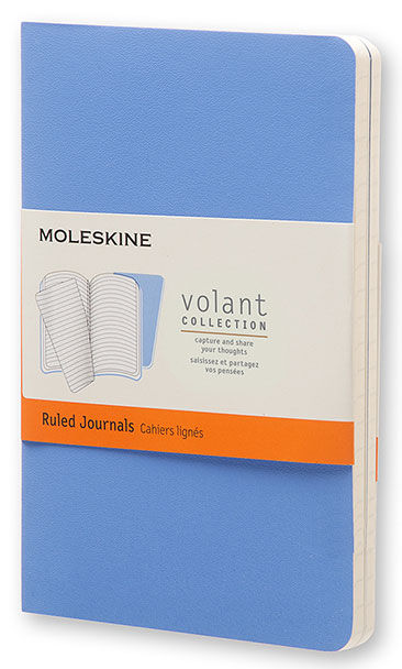 Блокнот Moleskine VOLANT POCKET 90x140мм 80стр. линейка мягкая обложка синий/темно-синий (2шт)