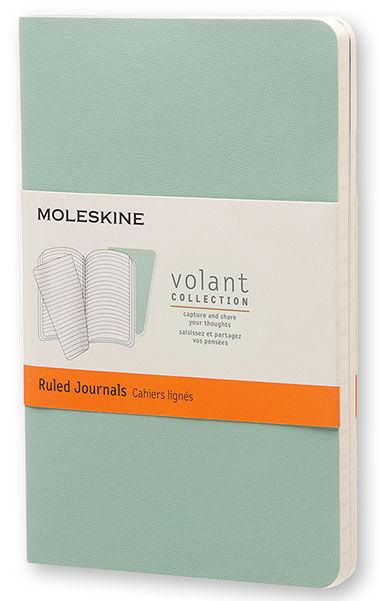 Блокнот Moleskine VOLANT POCKET 90x140мм 80стр. линейка мягкая обложка светло-зеленый/темно-зеленый