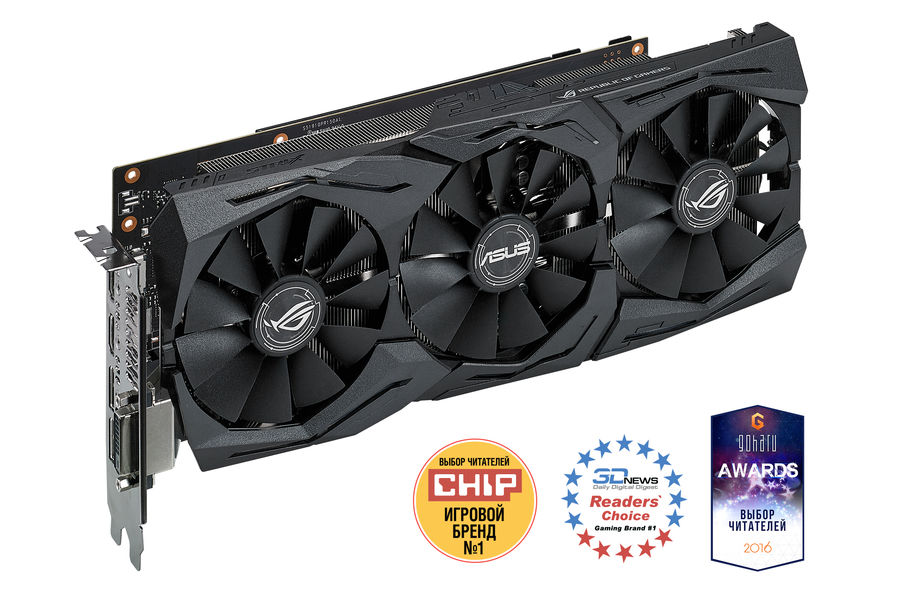 Видеокарта ASUS nVidia GeForce GTX 1080 , STRIX-GTX1080-A8G-GAMING, 8Гб, GDDR5X, OC, Ret видеокарта asus dual gtx1060 o6g 6гб gddr5 oc ret
