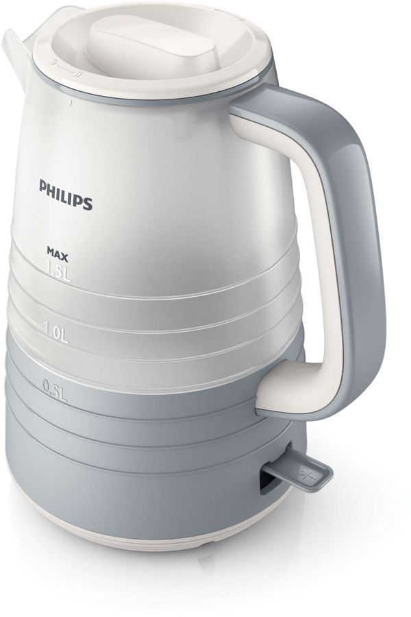 Чайник электрический PHILIPS HD9335/31, 2200Вт, серый и белый
