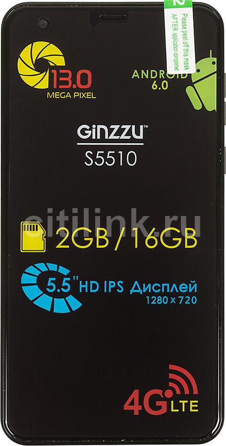 "Смартфон Ginzzu S5510 16Gb черный моноблок 3G 4G 2Sim 5.5"" 720x1280 And6.0 13Mpix  (плохая упаковка)"