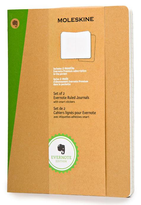 Блокнот Moleskine EVERNOTE XLarge 190х250мм обложка картон 120стр. линейка бежевый (2шт)