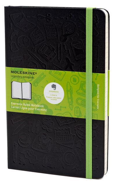 Блокнот Moleskine EVERNOTE SMART LARGE 130х210мм 240стр. линейка твердая обложка черный [qp060bkever]