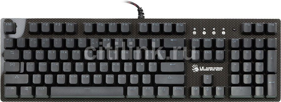 Клавиатура A4 Bloody B800,  USB, серый + черный