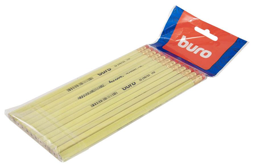 Карандаш чернографит. Buro 046000408 HB пластик ластик корпус желтый не заточенный