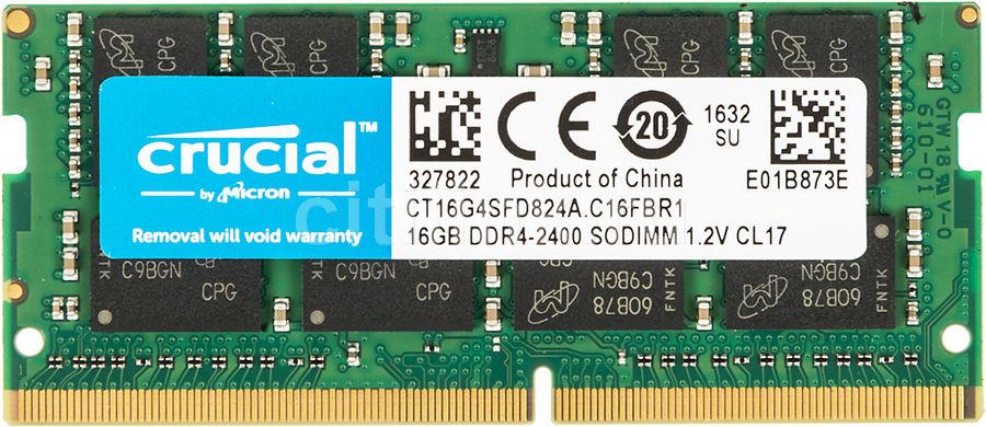 Модуль памяти CRUCIAL CT16G4SFD824A DDR4 -  16Гб 2400, SO-DIMM,  Ret