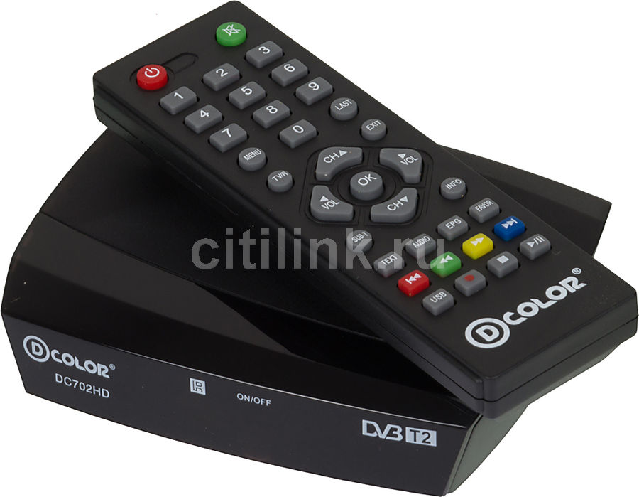 Ресивер DVB-T2 D-COLOR DC702HD, черный телеприставка qhisp iptv dvb t2 mpeg4 hd 40 car dvb t2