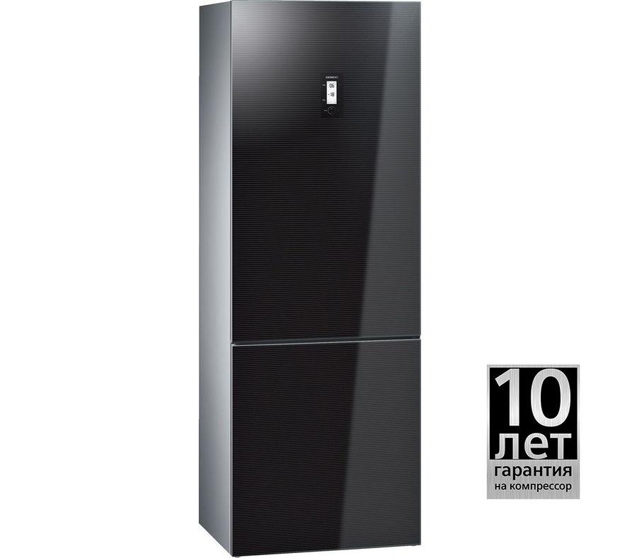 Холодильник SIEMENS KG49NSB21R,  двухкамерный, черный/стекло