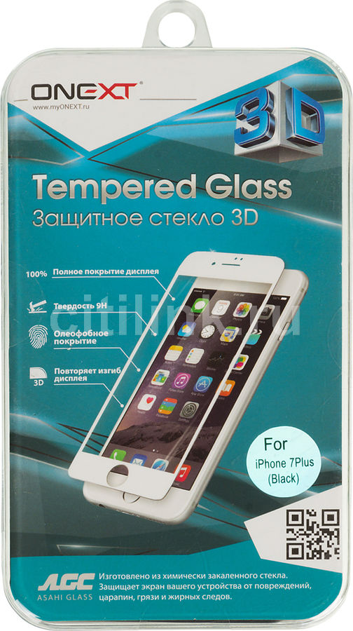 Защитное стекло для экрана ONEXT 3D  для Apple iPhone 7/8 Plus,  1 шт, черный [41161]