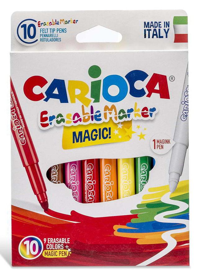 Фломастеры Carioca MAGIC 41238 стираемые 9цв. +стиратель коробка с европодвесом