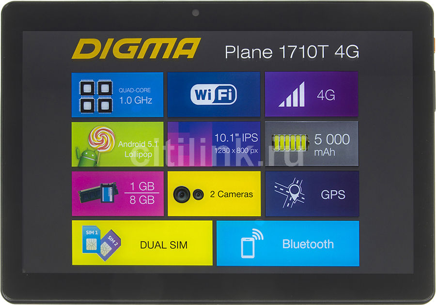 Планшет DIGMA Plane 1710T 4G, 1GB, 8GB, 3G, 4G, Android 5.1 черный [ps1092ml] digma platina 8 1 4g 8 1gb 16gb wifi bt 3g android 4 4 black