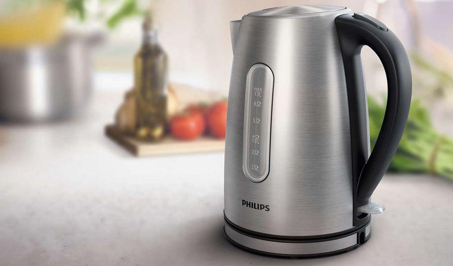 Чайник электрический philips hd9327/10, 2200 вт, серебристый