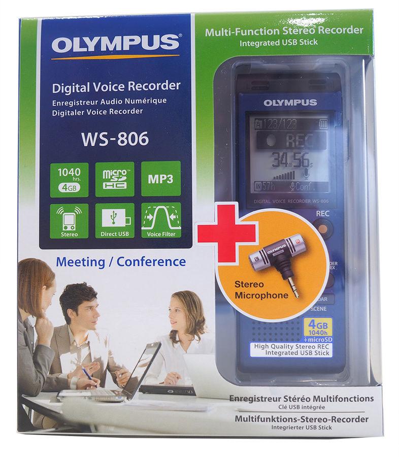 Диктофон OLYMPUS WS-806 + microphone ME-51S 4 Gb,  синий [ws-806+me-51s]