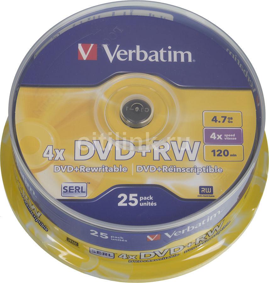 Оптический диск DVD+RW VERBATIM 4.7Гб 4x, 25шт., cake box [43489]