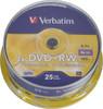 Оптический диск DVD+RW VERBATIM 4.7Гб 4x, 25шт., cake box [43489] вид 1