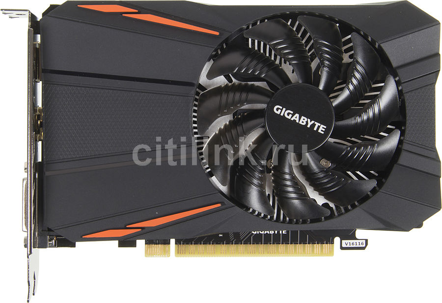 Видеокарта GIGABYTE GeForce GTX 1050, GV-N1050D5-2GD, 2Гб, GDDR5, OC, Ret