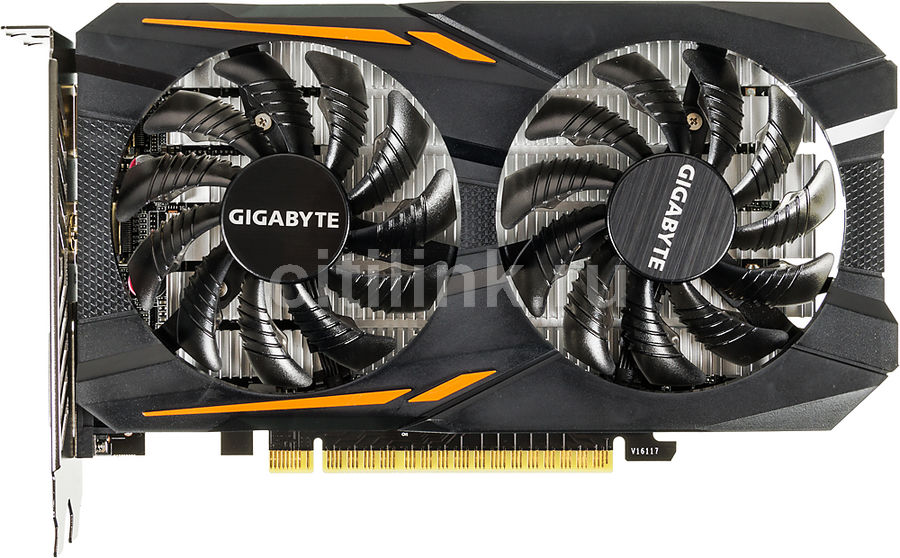 Видеокарта GIGABYTE GeForce GTX 1050, GV-N1050OC-2GD, 2Гб, GDDR5, OC, Ret gv r5876p 2gd b купить