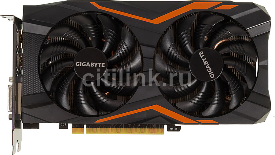 Видеокарта GIGABYTE nVidia GeForce GTX 1050 , GV-N1050G1 GAMING-2GD, 2Гб, GDDR5, OC, Ret gv r5876p 2gd b купить