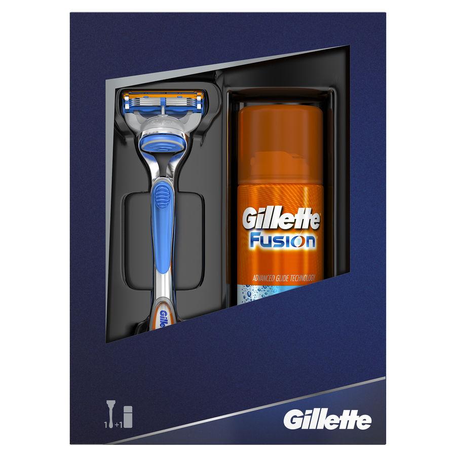Набор подарочный GILLETTE Fusion, Мужская Бритва Gillette Fusion + Гель для бритья Gillette Fusion Hydra gel увлажняющий, 75 мл [gil-81527534]