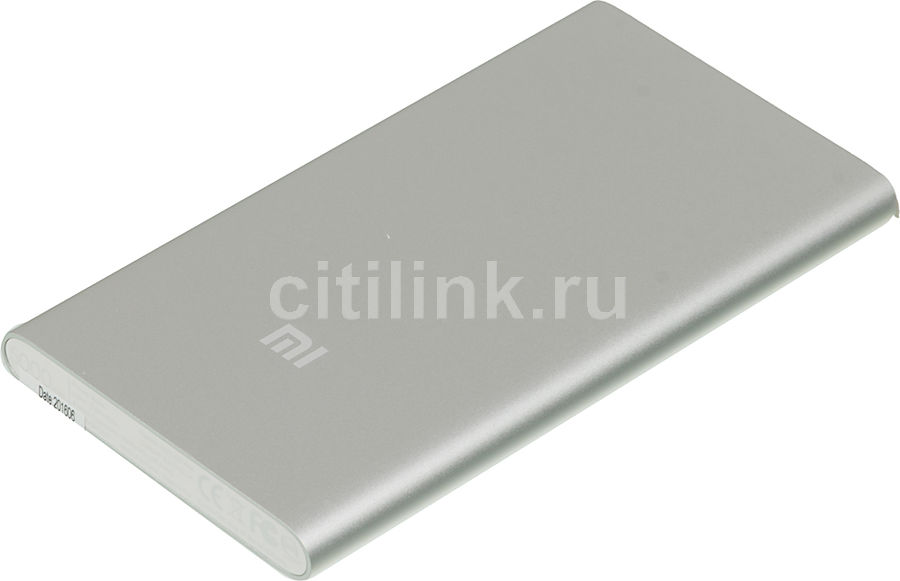 Внешний аккумулятор XIAOMI Mi Power Bank,  5000мAч,  серебристый [ndy-02-amsilver]