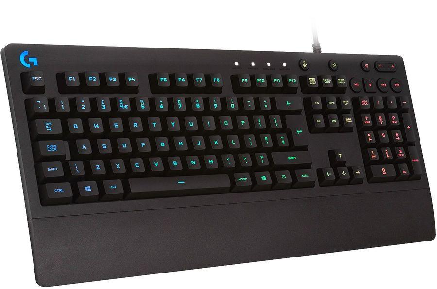 Клавиатура LOGITECH G213 Prodigy RGB,  USB, c подставкой для запястий, черный [920-008092]