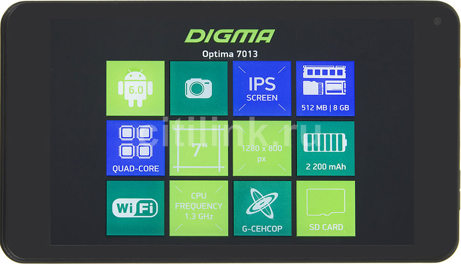 Планшет DIGMA Optima 7013, 512Мб, 8GB, Android 6.0 черный [ts7093rw] планшет digma plane 1601 3g ps1060mg black
