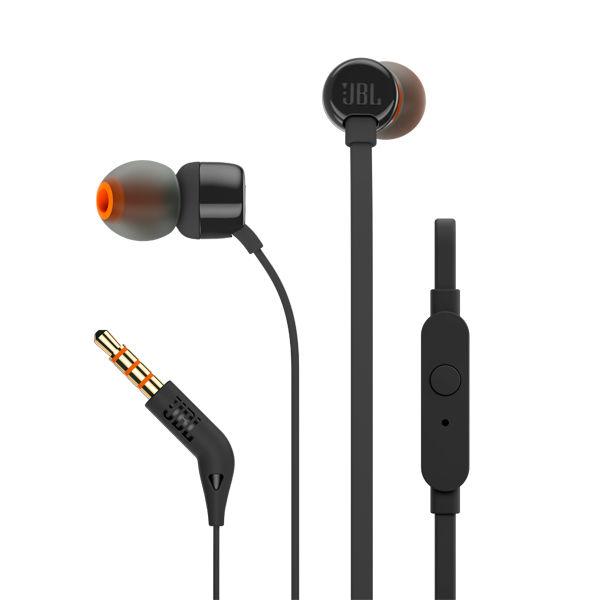Наушники с микрофоном JBL T110 BLK, 3.5 мм, вкладыши, черный [jblt110blk]