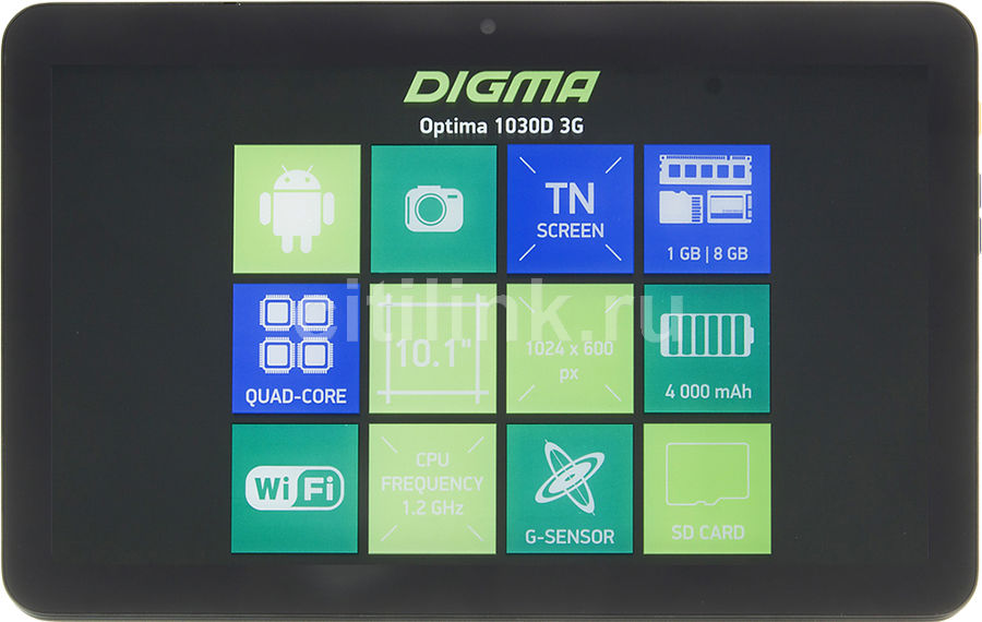 Планшет DIGMA Optima 1030D 3G, 1GB, 8GB, 3G, Android 5.1 черный [tt1102mg] планшет digma plane 1601 3g ps1060mg black