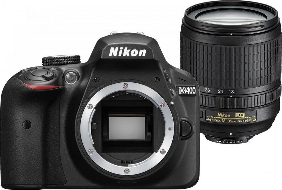 Зеркальный фотоаппарат NIKON D3400 kit ( 18-105mm f/3.5-5.6 VR), черный