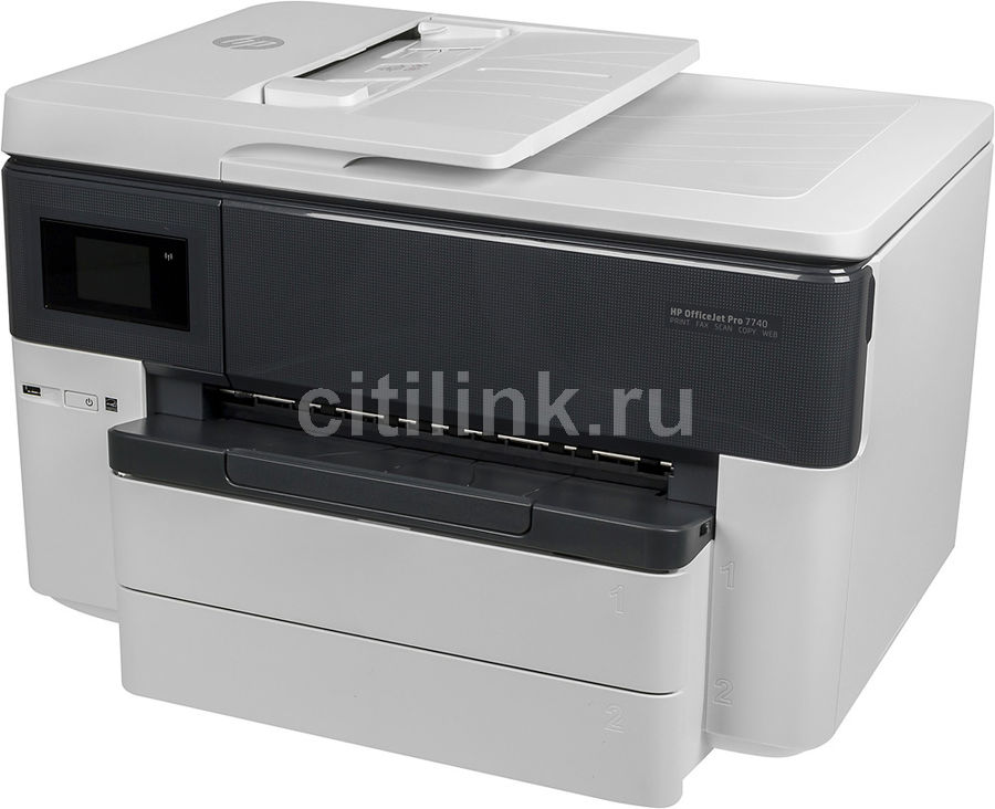 МФУ струйный HP OfficeJet Pro 7740 WF AiO, A3, цветной, струйный, белый [g5j38a]